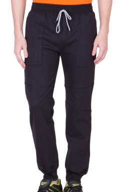 Black Mighty Basic Track Pants/ Joggers</br>