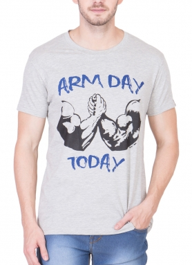 Arm Day Today Melange Grey Performance T-Shirt </br>