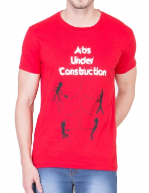 Abs under construction Red Performance T-Shirt</br>