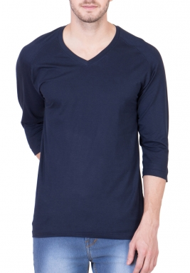 Navy Blue Mighty Basic Reglon 3/4 Sleeves Performance T..